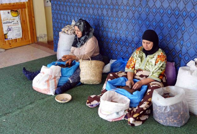 Moroccan ladies crushing argan nuts