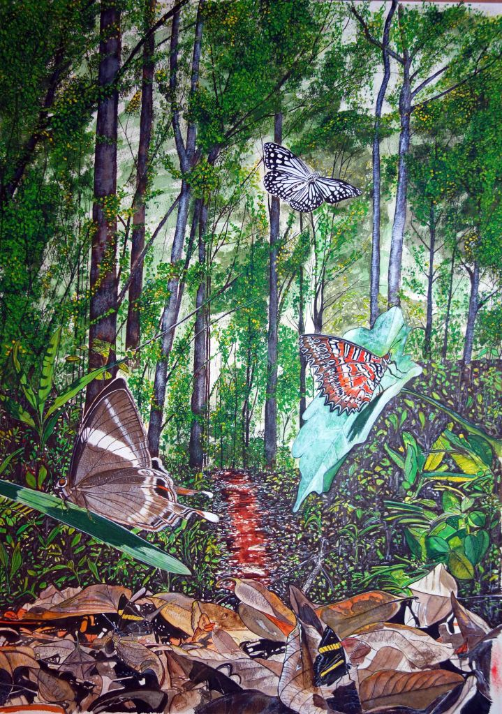 A painting entitled 'Butterflies on the Path at Doi Sutep-Pui National Park' by Ray Cannon