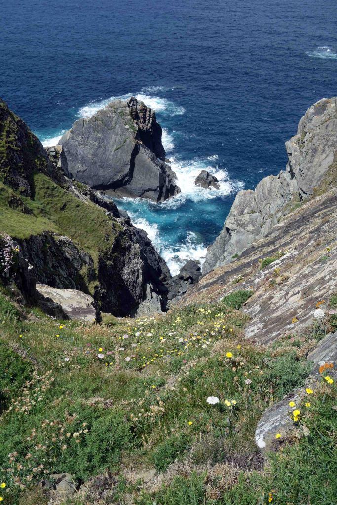 Rocky coastline and sea cliffs at Punta Corveira, Galicia, Spain