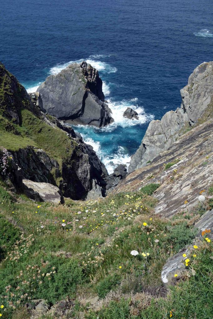 Rocky coastline and sea cliffs at Punta Corveira, Galicia, Spain