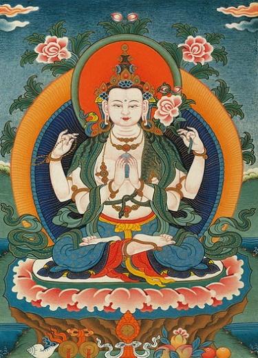 Four-armed Tibetan form of Avalokiteśvara holding lotus flowers. https://en.wikipedia.org/wiki/Avalokite%C5%9Bvara