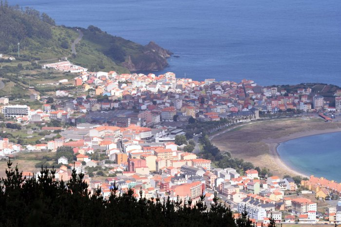 Looking down on the town of Cariño, Ria Ortigueira, Galicia, Spain